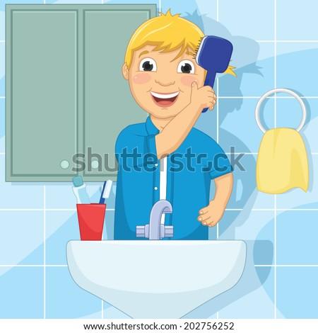 Little Boy Brushing Hair Vector Illustration - stock vector