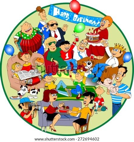 Little boy celebrating his birthday, vector and illustration - stock vector