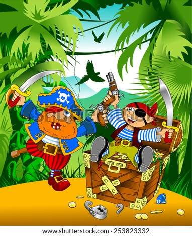 little boy dressed as pirate found gold, vector;  - stock vector