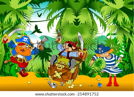 little boy dressed as pirate found gold, vector - stock vector