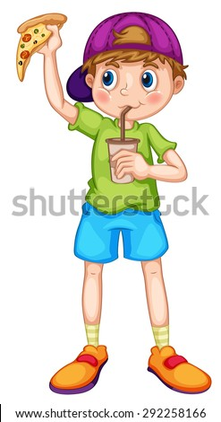Little boy eating pizza and drinking from a cup - stock vector