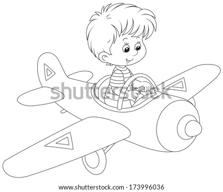 Little boy flying a toy plane - stock vector