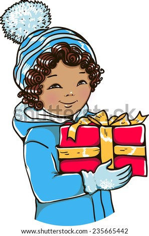 Little boy, In the hands of a gift. Vector illustration. - stock vector