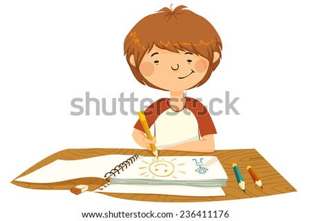 Little boy is sitting at the table and draws pictures. - stock vector