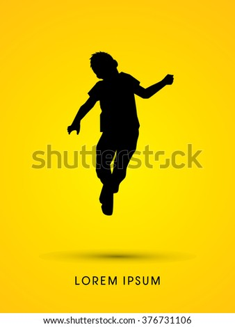 Little Boy jumping graphic vector. - stock vector