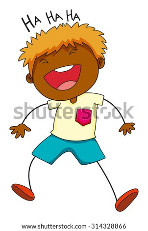 Little boy laughing on white illustration