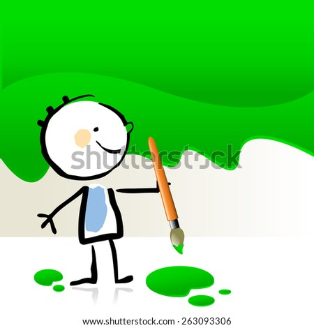 Little boy painting with green color, cute smiling artist kid. Happy kids doodle style sketchy vector illustration. - stock vector