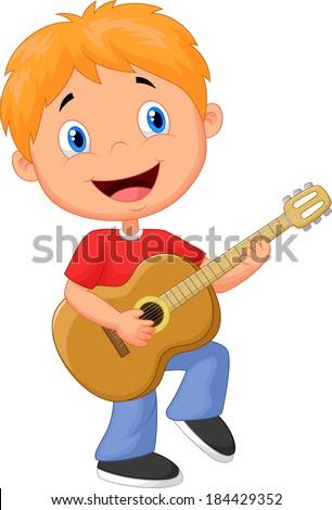 Little boy playing guitar - stock vector