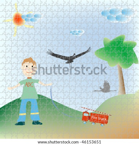 little boy playing puzzle, abstract art illustration - stock vector