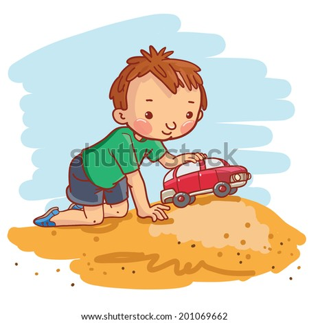 Little Boy playing with the Car. Summer activities. Children illustration for School books, magazines, advertising and more. Separate Objects. VECTOR. - stock vector