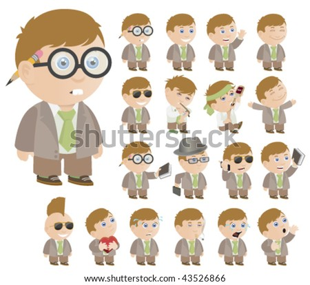 Little Boy Poses - Vector Illustration