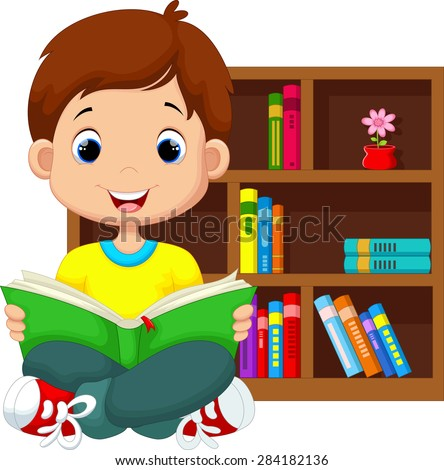 Little boy reading a book - stock vector