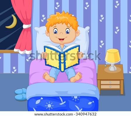 Little boy reading a book of fairy tales - stock vector