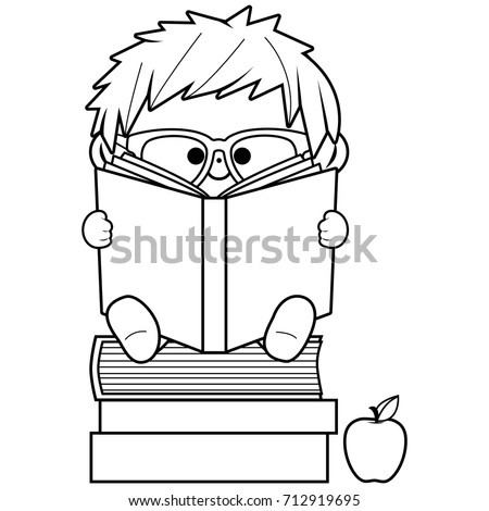 Little Boy Reading Books Black And White Coloring Book Page