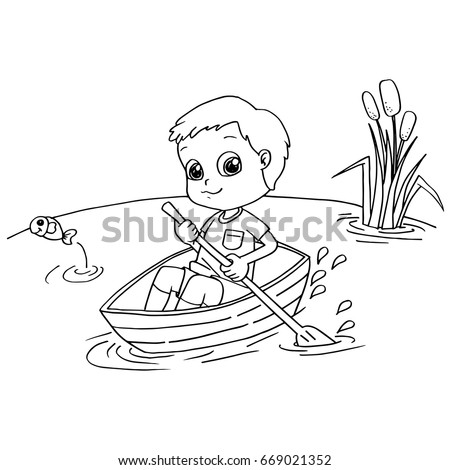 Little Boy Rowing A Boat Coloring Page Vector