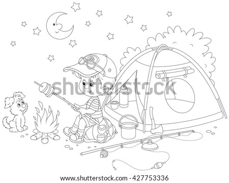 Little boy scout roasting bread on campfire near his camping tent - stock vector