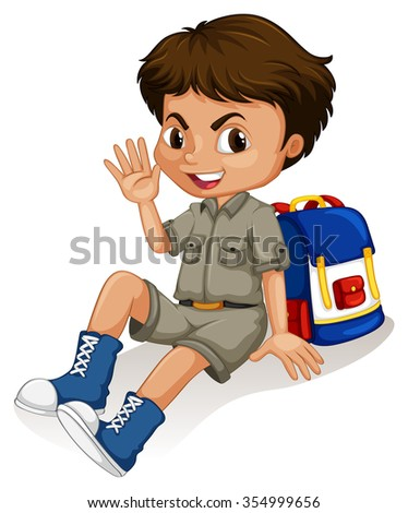 Little  boy sitting by his backpack illustration