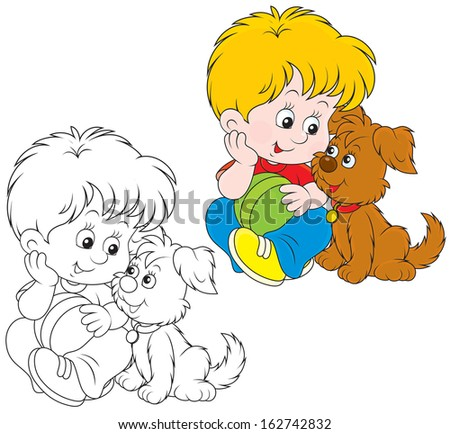 Little boy sitting with his small brown pup - stock vector