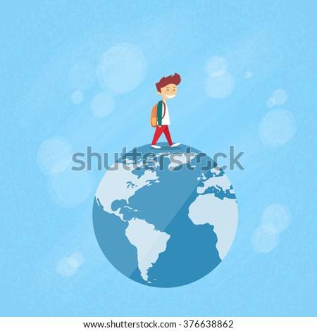 Little Boy Walk on Globe World Map Concept Travel Vector Illustration - stock vector