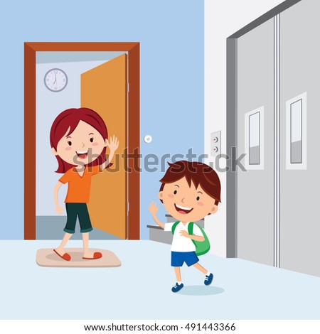 Leaving stock images royalty free images vectors shutterstock little boy waving to his mother before leaving to school sciox Image collections