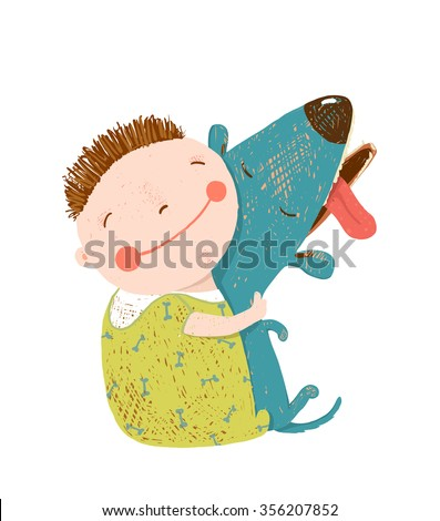 Little boy with a dog hugging. Child happiness with friend animal, vector illustration. - stock vector