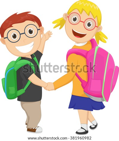 little boy with girl walking to school carrying a bag pack - stock vector