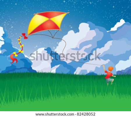 Little boy with orange hair flying a kite.  Vector illustration. - stock vector