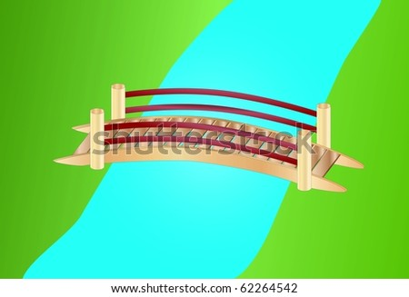 little bridge over a creek ( background on separate layer ) - stock vector