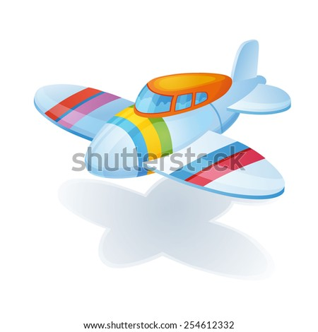 Little bright colorful airplane waiting child for it to play - stock vector