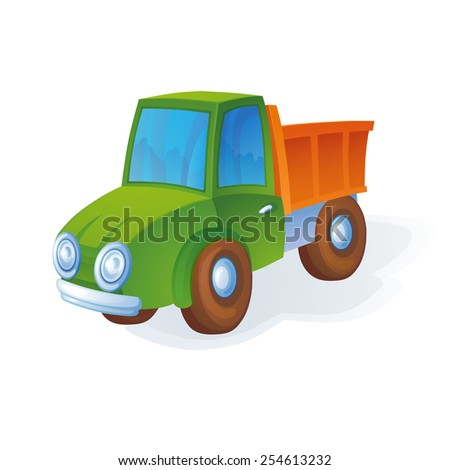 Little bright colorful toy car waiting child for it to play - stock vector