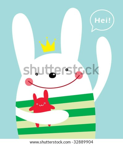 little bunny greeting - stock vector