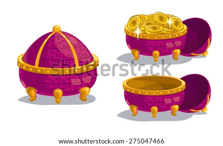 Little cartoon casket, closed, empty and full of coins, isolated on white - stock vector