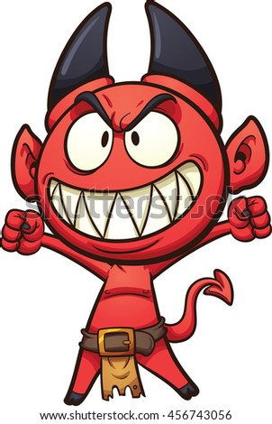 Little cartoon devil. Vector clip art illustration with simple gradients. All in a single layer.
