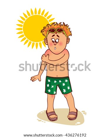 Little cartoon man complains about burn on his skin from the sun, vector image