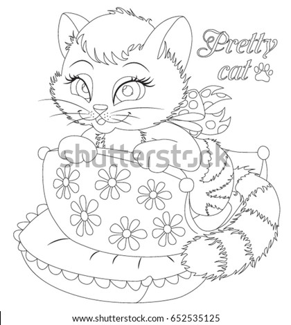 Little Cat Coloring Book Stock Vector 652535125 - Shutterstock