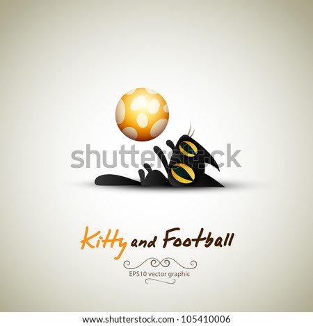 Little Cat playing with Football | Great Greeting for Pet Owners | Layered EPS10 Vector Background - stock vector