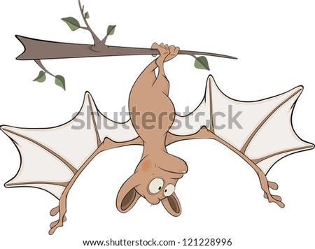 Little cheerful bat. Cartoon - stock vector