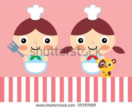 little chef couple - stock vector