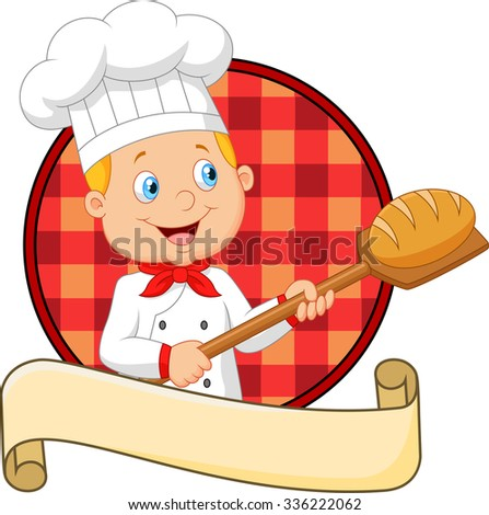 Little chef is cooking bread  - stock vector