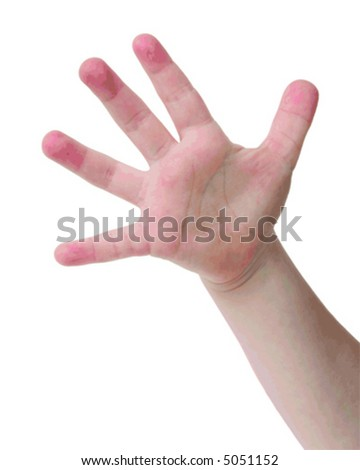Little child hand with Five finger on white background - stock vector