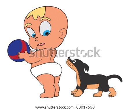 Little child holding ball, little dog stand near baby