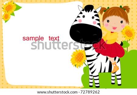 little child on a zebra - stock vector