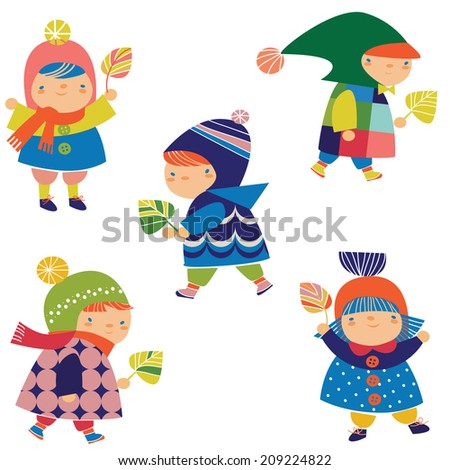 little children - stock vector