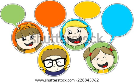 little childs chatting vector illustration of communication concept isolated on white background - stock vector