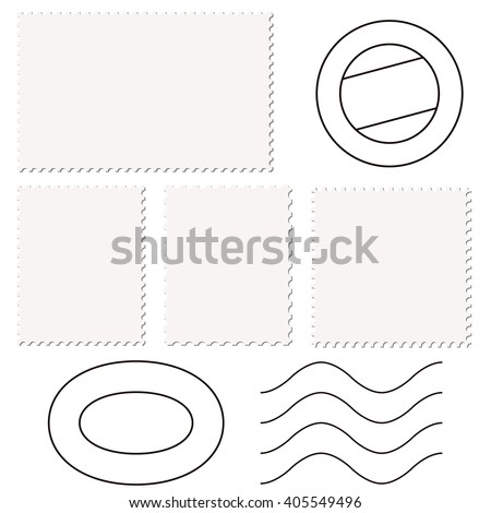 little collection of different empty stamps and post marks - stock vector