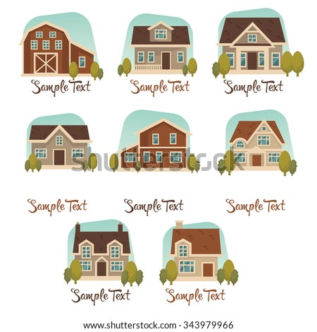 little cottage vector collection - stock vector