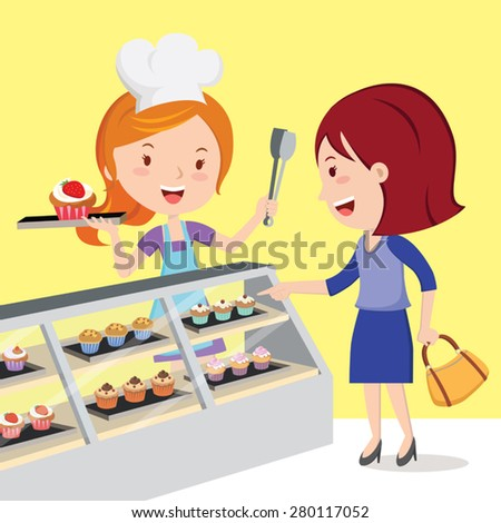 Little cupcake bakeshop. Vector illustration of a pretty pastry chef and customer in the confectionery shop. - stock vector