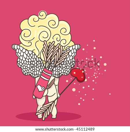 little cupid from back on pink background