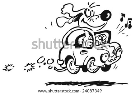 little cute cabriolet driving by a dog - stock vector