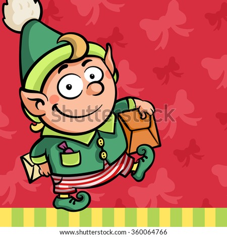 Little cute cartoon Christmas New Year Elf character with present post box and letter in green outfit and striped pants on red pink background with bow knot - stock vector